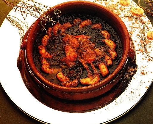 Gambas con chocolate