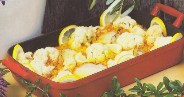Arroz con sepia y coliflor al horno