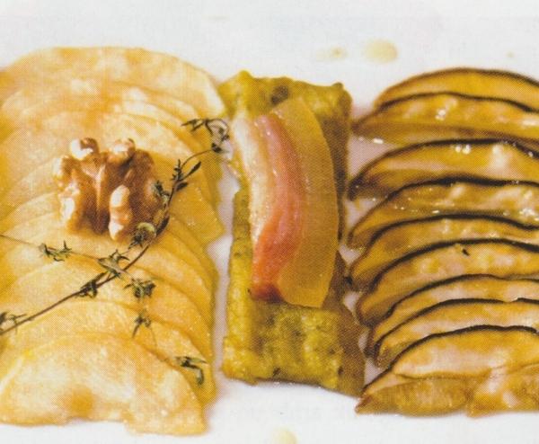 Boletus confitados, manzana caramelizada y trinxat