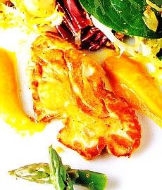 Ensalada tibia de sesos de ternera y hortalizas