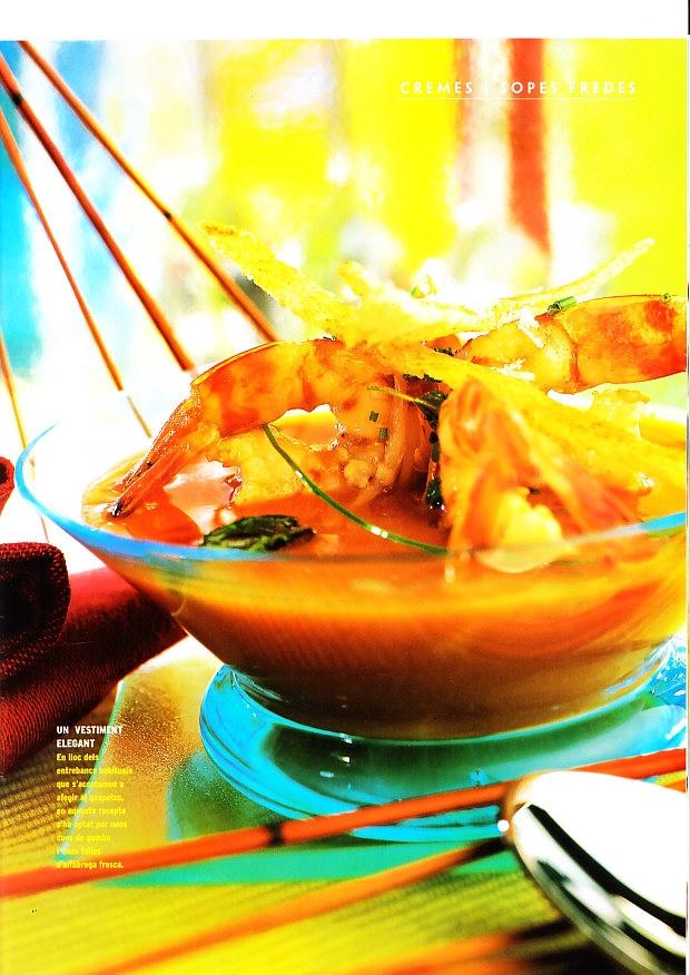 Gazpacho de cigalas y almejas