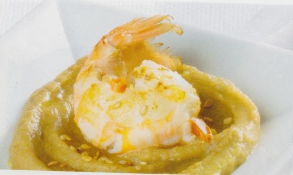 Hummus de lentejas y cigalas