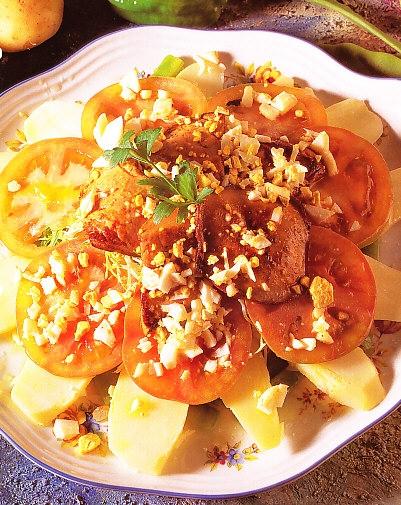 Láminas de patata con judias verdes y foie