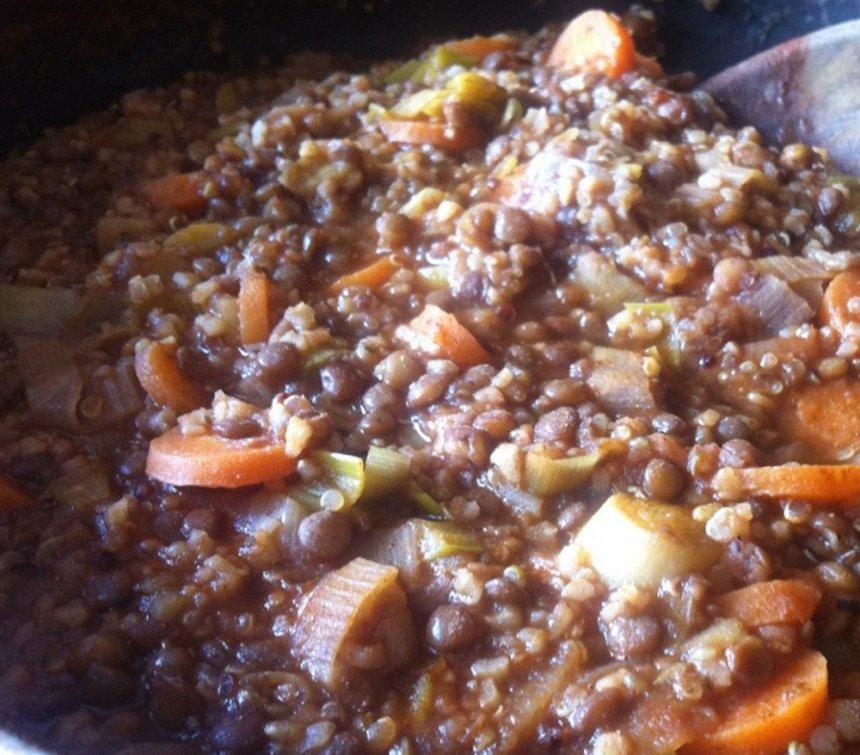 Lenteja con comino y quinoa