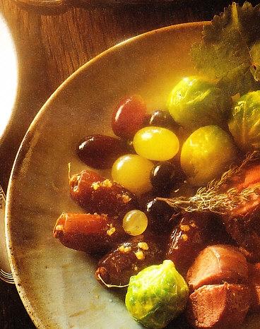 Lomo de conejo con coles de Bruselas