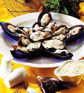 Mejillones con salsa de menta