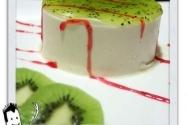 Mousse helada de albaricoque y almíbar de kiwi