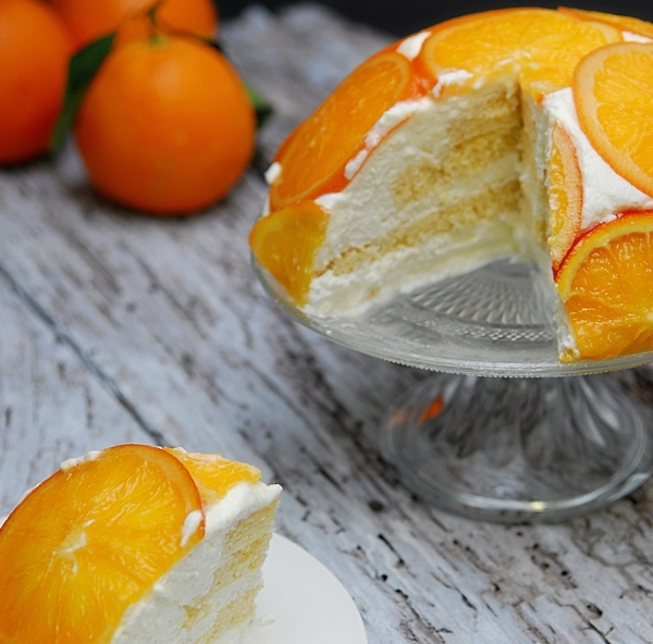 Tarta de mousse de yogur y naranja confitada