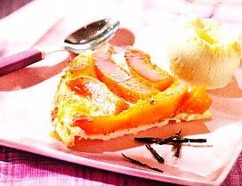 Tatin de papaya a la vainilla.