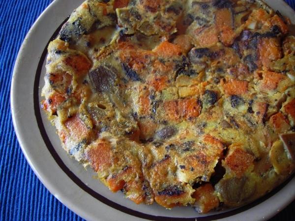 Tortilla de otoño de setas y calabaza