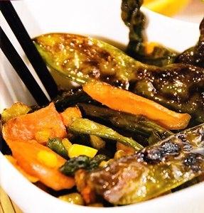 Verduras salteadas con naranja y salsa de ostras