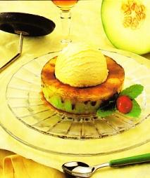 Aros de melón con helado de vainilla