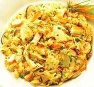 Arroz pilaf con cangrejo y setas