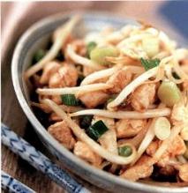 Chop suey de pollo con ajo