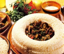 Corona de arroz con setas