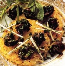 Crêpes de patata con caracoles