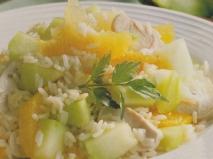Ensalada de arroz con pavo y melón