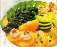 Ensalada de espárragos, naranjas y aguacate