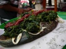 Espinacas con queso Oaxaca