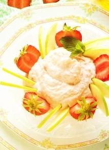 Helado de yogur con fresas