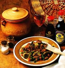 Menestra de verduras con gambas y salsa de soja