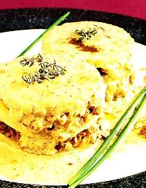 Milhojas de patata con butifarra de perol
