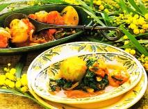 Nabos especiados con espinacas y tomates