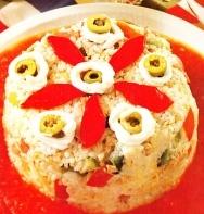 Pastel de arroz con atún en escabeche