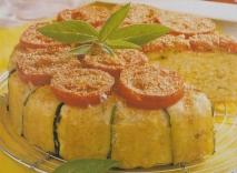 Pastel de arroz con láminas de calabacín