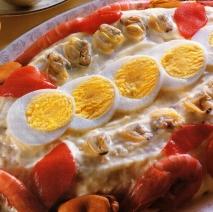 Pastel de patata, pescado y marisco