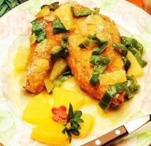 Pollo con piña y coco