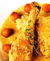 Pollo de pata azul con jugo