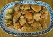Pollo en salsa con alcachofas