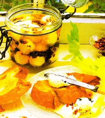 Queso de yogur en aceite de oliva