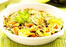 Setas y verduras al gratén