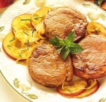 Solomillo marinado con manzanas