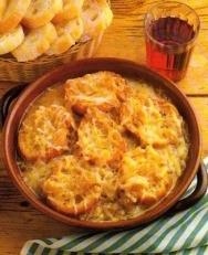Sopa de cebolla y jamón