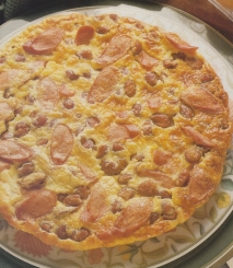 Tortilla de frankfurt y alubias